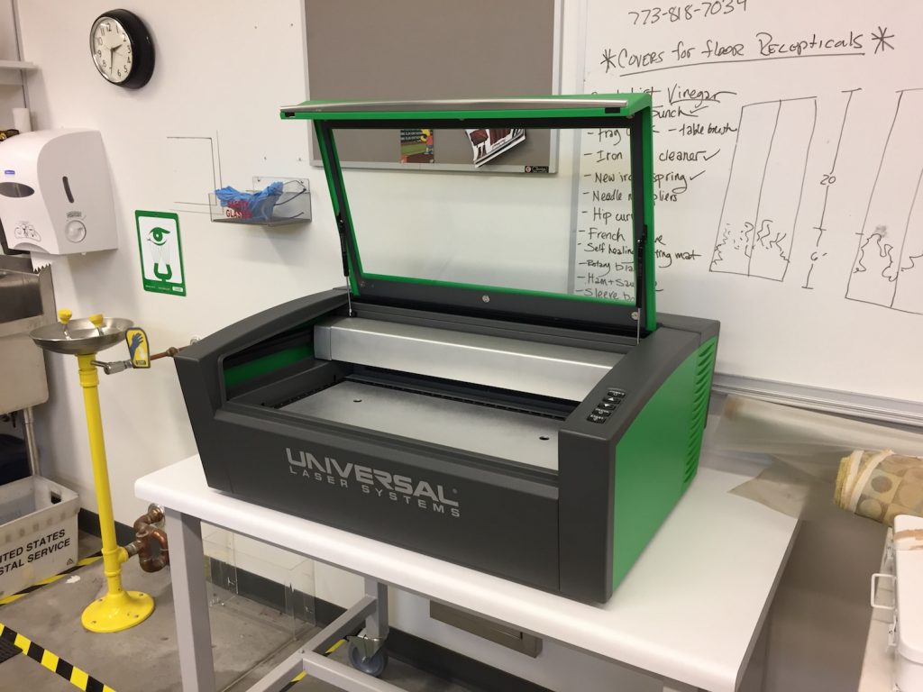 Universal Laser Cutter in Hamilton College's costume shop